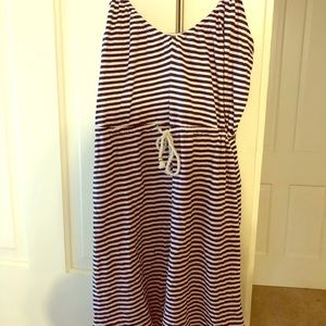 H&M navy/white striped dress size medium